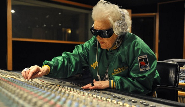 British DJ Ruth Flowers mixes music at a recording studio in Paris